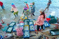 Mui Ne, Vietname, o 23 de abril de 2018: Introduza no mercado a aldeia piscatória adiantada quando os peixes de venda de compra o Foto de Stock