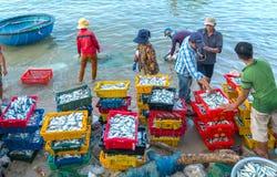 Mui Ne, Vietname, o 23 de abril de 2018: Introduza no mercado a aldeia piscatória adiantada quando os peixes de venda de compra o Imagens de Stock