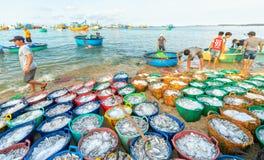Mui Ne, Vietname, o 23 de abril de 2018: Introduza no mercado a aldeia piscatória adiantada quando os peixes de venda de compra o Imagens de Stock Royalty Free
