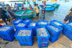 Mui Ne, Vietname, o 23 de abril de 2018: Introduza no mercado a aldeia piscatória adiantada quando os peixes de venda de compra o Fotografia de Stock