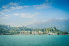 mui wo镇美丽的景色天际的在农村镇,位于香港大屿山 免版税库存图片