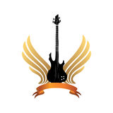 Muical instrument guitar  Rock music festival label. Stock Image