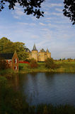 Muiderslot castle. Scenic view of Muiderslot castle with river vetch in foreground, Muiden, Netherlands royalty free stock image