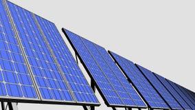 Muiltiplezonnepanelen, blauwe beeldverhaalversie voor presentaties en rapporten Duurzame energiegeneratie 4K naadloos stock illustratie