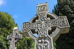 Muiredachs High Cross. West view of Muiredach's cross and carvings of the crucifixtion Stock Photos