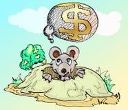 Muis die een dollarhuis denkt Stock Afbeelding
