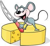 Muis die een kaasmes houden - vector Stock Foto's