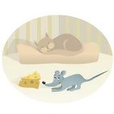 Muis en kat Stock Afbeelding