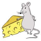 Muis en Stuk van Kaas Stock Afbeeldingen