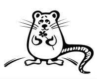 Muis met een bloem stock illustratie