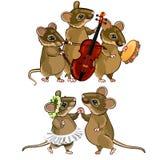 Muis muzikaal orkest en een dansend paar vector illustratie