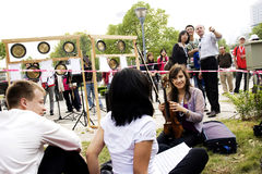 Muisc play outside. This small outside music play was hold in friendly exchange activity between Germany and China.The friendly exchange activity lasts 3 years Royalty Free Stock Photo