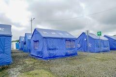 MUISNE,厄瓜多尔06日2017年:在Muisne海岸的被即兴创作的风雨棚在强有力7以后的 8巨大地震 图库摄影