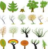 Muitas árvores diferentes dos desenhos animados Imagens de Stock Royalty Free