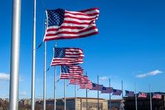 Muitas bandeiras americanas que acenam em Washington Monument - Washington, D C , EUA Imagem de Stock