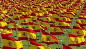 Muitas bandeiras da Espanha no campo verde ilustração stock