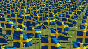 Muitas bandeiras da Suécia que fundem no vento no campo verde ilustração stock