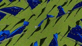 Muitas bandeiras da União Europeia em mastros de bandeira contra o céu azul ilustração stock