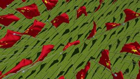 Muitas bandeiras de China no campo verde ilustração do vetor