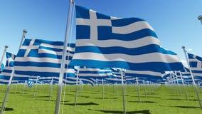 Muitas bandeiras de Grécia que acenam no vento no campo verde ilustração royalty free