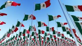 Muitas bandeiras de México que acenam contra o céu azul ilustração do vetor