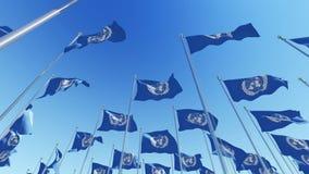 Muitas bandeiras de United Nations em mastros de bandeira contra o céu azul vídeos de arquivo