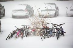 Muitas bicicletas estacionadas na tempestade da neve Fotos de Stock Royalty Free