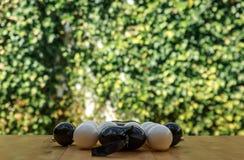 Muitas bolas brancas e pretas do Natal em uma tabela de madeira Imagem de Stock