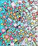 Muitas bolas coloridas em um fundo azul ilustração stock