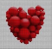 Muitas bolas vermelhas no formulário do coração isolado Fotografia de Stock