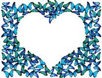 Muitas borboletas azuis fazem o quadro do coração Fotografia de Stock Royalty Free