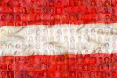 Muitas caras diversas na bandeira nacional de Áustria fotos de stock royalty free