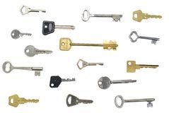 Muitas chaves isolaram o fundo Fotos de Stock