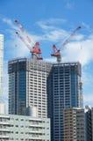 Muitas construções altas sob a construção e guindastes sob um céu azul Imagem de Stock Royalty Free