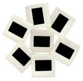 Muitas corrediças do preto com frames brancos, lightbox imagens de stock royalty free