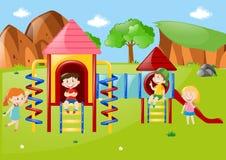 Muitas crianças no campo de jogos no dia Fotografia de Stock Royalty Free