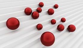 Muitas esferas vermelhas no conceito das escadas Foto de Stock