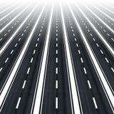 Muitas estradas paralelas para a infinidade Fotos de Stock Royalty Free