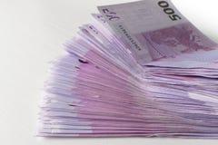 Muitas 500 euro- cédulas Moeda da UE Foto de Stock Royalty Free