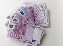 Muitas 500 euro- cédulas Moeda da UE Fotografia de Stock