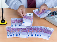Muitas euro- notas de banco Fotografia de Stock Royalty Free