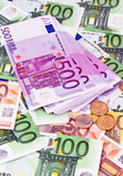 Muitas euro- notas de banco Imagens de Stock Royalty Free