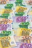 Muitas euro- notas de banco Imagem de Stock