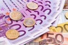 Muitas euro- notas de banco Foto de Stock
