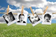 Muitas expressões de uma criança nova da criança em polar imagem de stock