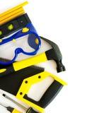 Muitas ferramentas de funcionamento - martele, serra e outro sobre Fotos de Stock