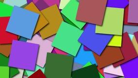 Muitas formas quadradas coloridas estão na superfície, contexto gerado por computador da rendição 3d vídeos de arquivo