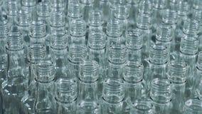 Muitas garrafas para o álcool que move sobre uma linha, transporte automatizado video estoque