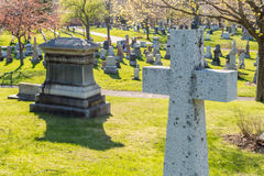 Muitas lápides em um cemitério Imagens de Stock
