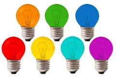 Muitas lâmpadas da cor do arco-íris, colagem Imagem de Stock